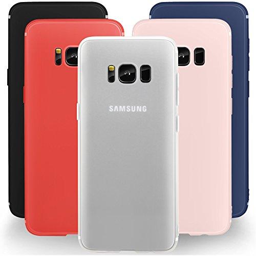 5 PCS × Custodia Galaxy S8 Cover Silicone , Leathlux [Ultra Sottile] Morbido TPU Custodie Protettivo Flessibile Gomma Gel Skin Cover per Samsung Galaxy S8 5.8 Pollici Nero, Blu scuro, Bianco, Rosso, Luce rosa