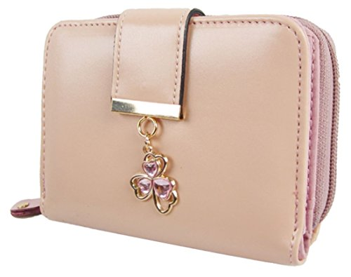 Kukubird Patta Deployante Con Trifoglio Fascino Dettaglio Medio Ladies Borsa Clutch Wallet Light Pink Calidad Al Por Mayor Oyw2SGP