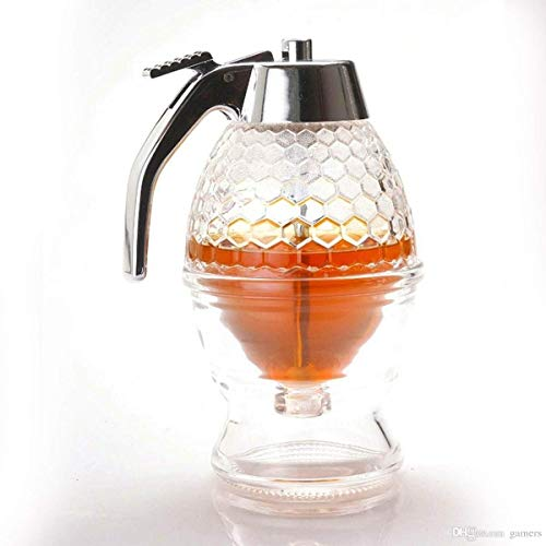 Orangehome Honigspender mit Aufbewahrungsständer, 200 ml Sirupspender, Behälter aus Kunststoff und Acryl, bruchsicher und BPA-frei, kein Tropfen, moderater Durchfluss, - 8 Unzen Sirup