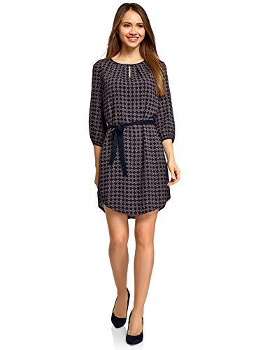 oodji Ultra Damen Viskose-Kleid mit Gürtel, Blau, DE 36 / EU 38 / S