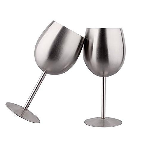 IMEEA® 10oz SUS304 Gebürstete Edelstahl Weingläser Weinkelche, Set mit 2 Stück