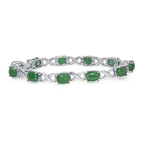 Argent sterling ovale Vert jade pierres précieuses Amour d'amitié Link Bracelet infini, 17,8cm