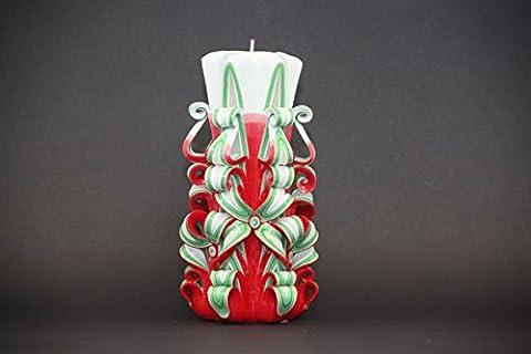 Groß, Rot, Grün und Weiß - Weihnachtsbaum-Farben - dekorativ geschnitzte Kerze - EveCandles