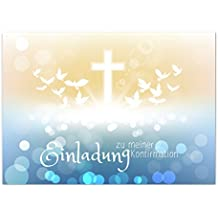 15 X Einladungskarten Zur Konfirmation Mit Umschlägen/Viele Tauben, Modern  Mit Kreuz/Konfirmationskarten