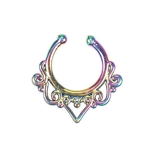 BODYA Septum Schmuck Blumen Septum Ring Faux No Piercing Hanger Retainer Nase Ring für Frauen Mädchen Regenbogen