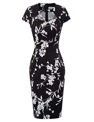 GRACE KARIN Rétro Vintage Robe Moulante Florale Femme pour Soirée Cocktail M CL7597-31