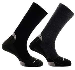Horizon  Merino Lining 2 Pack Sock - Black/Grey/Grey & Grey/Black/Grey, Size 8-12