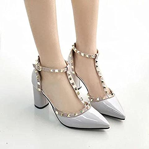 WYWQ Talons hauts des dents Rough With Party Chaussures Pointed Toe Hollow One Word Boucle Rivet Patent Leather , 37