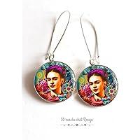 Cabochon Ohrringe Porträt Frida Kahlo, Mexiko, böhmischer Chic, Zigeuner, mehrfarbig