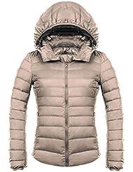 wjp Mujeres Ultra Lightweight Stop fbarer Down Jacket Outwear búfer Chaqueta de plumón W de 2471, color Die Karte, tamaño S