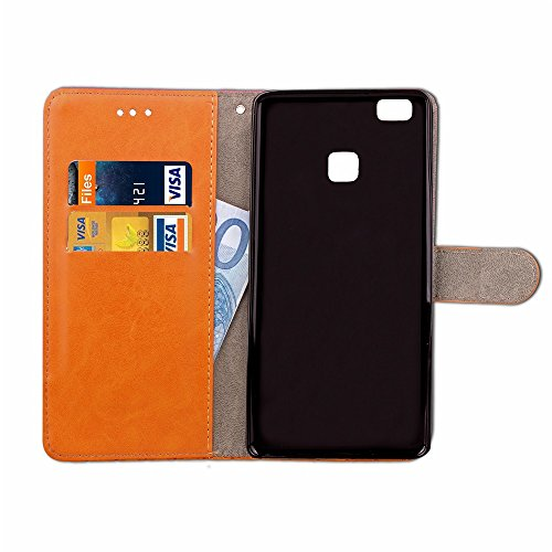 Mixed Colours Retro Premium PU Ledertasche 360 ° Schutz Brieftasche Stand Cover Case mit Lanyard & Card Slots für Huawei P9 Lite ( Color : Rose ) Brown