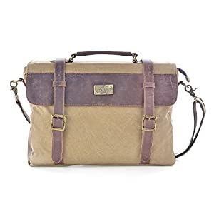 41G9qh2L5oL. SS300  - Gootium 30825KA - Bolso Mensajero De Cuero, Maletín de estilo Vintage, Bolso Para Laptop de 14 Pulgadas, Caqui