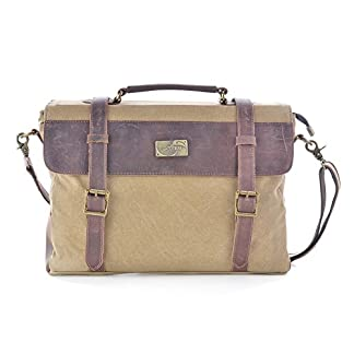 Gootium 30825KA – Bolso Mensajero De Cuero, Maletín de estilo Vintage, Bolso Para Laptop de 14 Pulgadas, Caqui