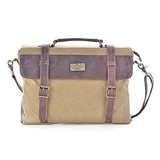 Gootium Vintage Canvas Leather Messenger Bag 14 Inch Laptop Shoulder Bag Bolso Bandolera, 38 cm