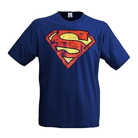 LOGOSH!RT SUPERMAN Retro Comic Herren T-Shirt DESTROY LOGO - ROYAL BLAU Gr. L (L33)