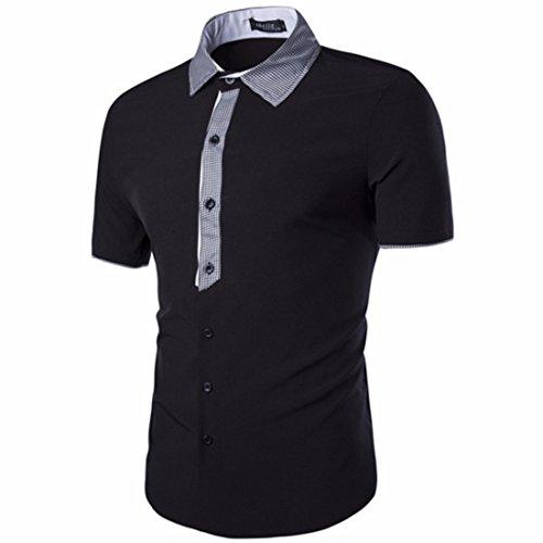 Men's Turn Down Collar Button Short Sleeve Dress Shirts Black