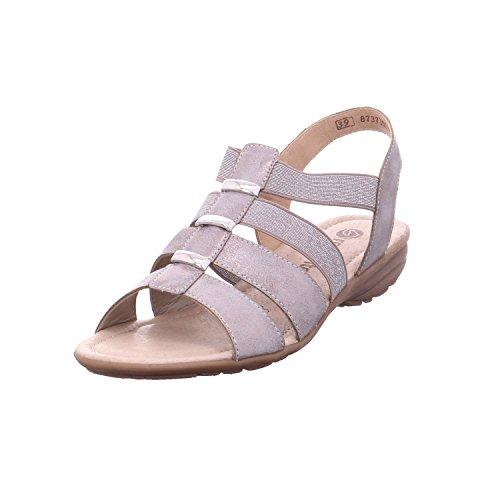Remonte R3644 Damen Sandale, Sandalette, Sommerschuh, Elastische Riemen Metallic (grey/antique-silver/90), EU 41