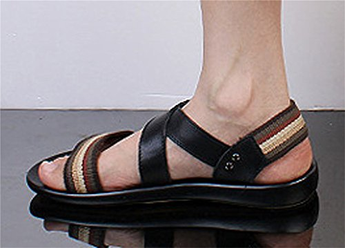 Insun Herren Flache Sandalen Mit Leder Outdoor Fitnessschuhe Schwarz