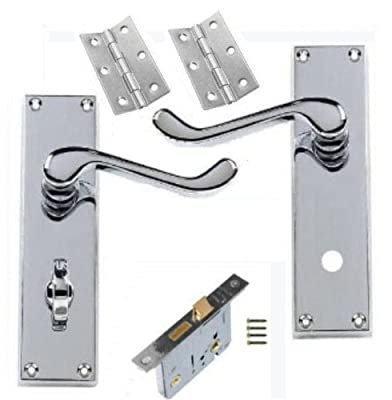 "Victorian Scroll Polished Chrome Bathroom Door Handle Lock Pack with 64mm Bathroom Lock + 3"" Hinges"