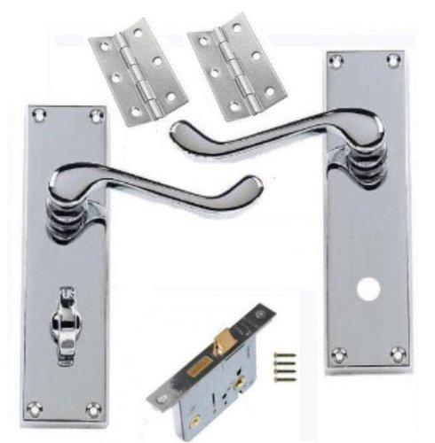 Discount Hardware UK - Juego de manillas con placa para puerta de bañ