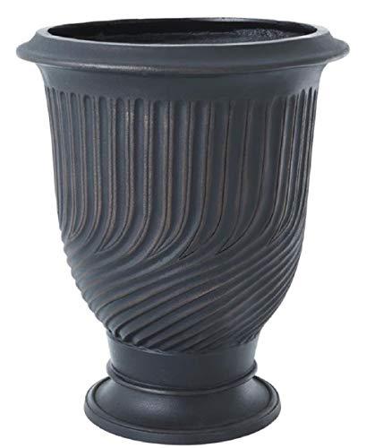 Casa Padrino Luxus Blumentopf Antik Bronze Ø 48 x H. 56 cm – Runder Aluminium Pflanzentopf – Luxus Qualität