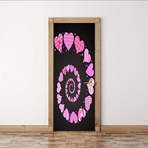 Puerta 3D Etiqueta, Impermeable Pvc Autoadhesivo Etiqueta De La Pared, Hogar Decorativos Papel Pintado Pared Arte, Escalera De Caracol Rosa, 90X200Cm