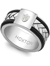 Hoxton London Herren-Ring 925 Sterling Silber leder Inlay 0.48.4810