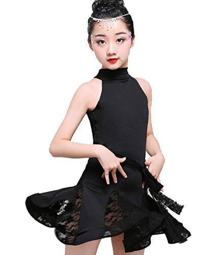 YZLL Kind Latin Dance Kostüme Latin Rumba Dance Dress Quaste Latin Dance Dress Tanzwettbewerb Kostüme schwarz ()