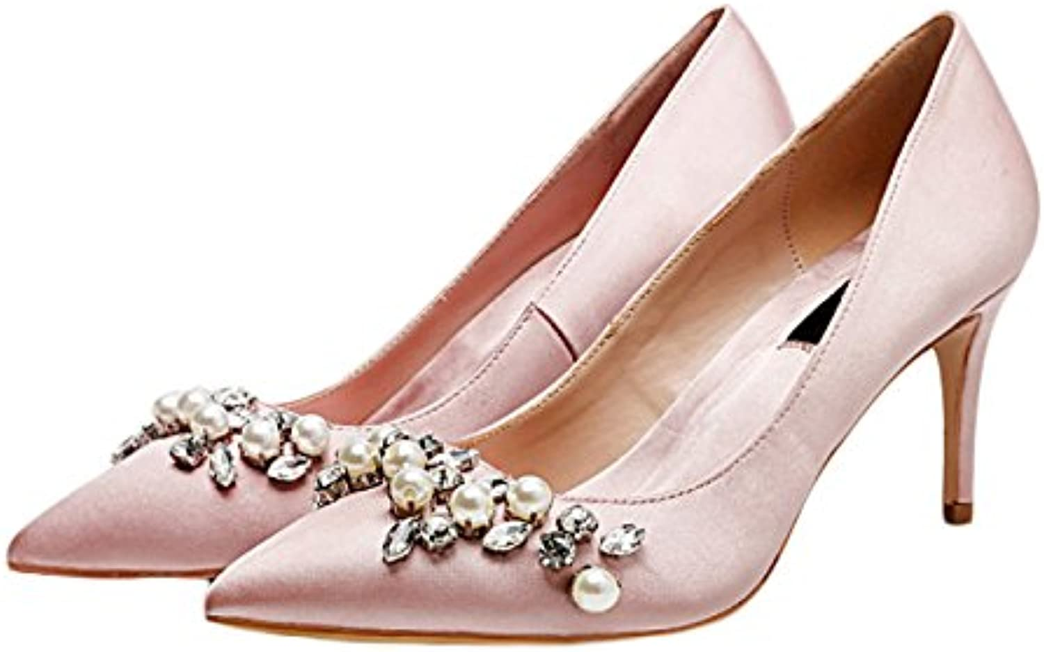 8d1f87735a1a Woman Woman Woman Silver High Heels Fashion Sexy Work Court Shoes Wedding  Rhinestone Pearl Satin Shoes Princess Crystal Shoes... B07CR13WCY Parent  a745ec
