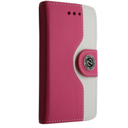 APPLE IPHONE 4 4S VARIOUS PU LEATHER MAGNETIC FLIP CASE COVER POUCH + FREE STYLUS (Ultra Slim Thin White) PINK AND WHITE BOOK