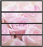 Wallario Möbelfolie/Aufkleber, geeignet für Ikea Malm Kommode - Rosafarbene Rosenblüten im Strauß mit 4 Schubfächern