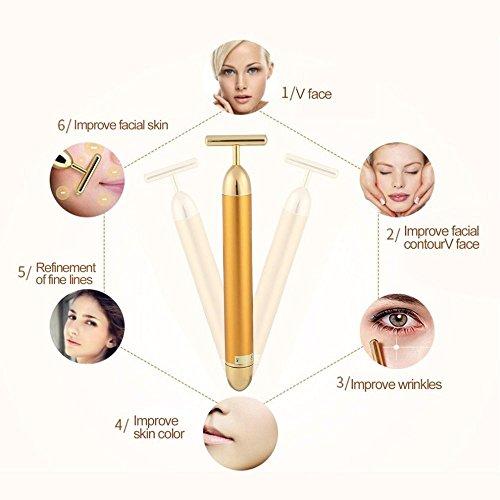 Gesichts-Massagegerät, 24K Golden Puls Schönheit Bar–wasserdicht T Form, Anti-Falten, Hautstraffung, Anti-Aging-Pflege- und Tools