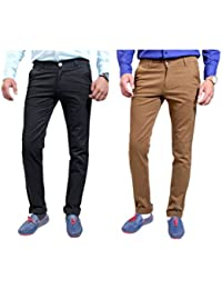 Routeen Men's Slim Fit Casual Chinos Trouser - Beige, Black (pack Of 2)