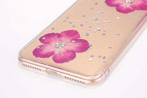 Cover iPhone 7 / 8 - Custodia in Glitter Silicone TPU - Surakey Belle iPhone 7 Custodia Brillantini Fiore Bling Diamante Trasparente Slim Ultra Sottile Gomma Morbida Gel Case Antigraffio Antiurto Fles Porpora