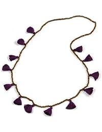 0ab5d11ac68 Avalaya Collier Long en Perles de Verre Style bohème avec Pompon en Coton  Violet 96 cm