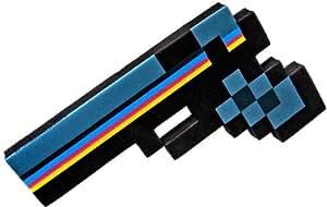 Pistolet Pixélisé 8-Bit en Mousse – Noir – 25 cm
