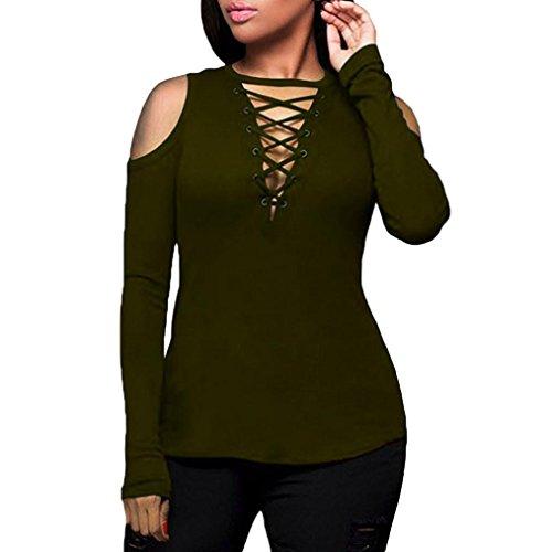 OSYARD Damen Solide trägerlosen V-Ausschnitt Bandage Langarm T-Shirt Tops Bluse(EU 40/L, Armeegrün)