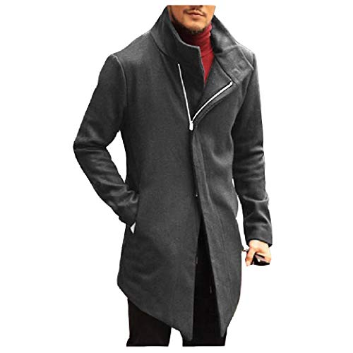 CuteRose Mens Stand Collar Classic Zipper Overcoat Trench Thermal Warm PEA Coat Grey XL Classic Double-breasted Peacoat