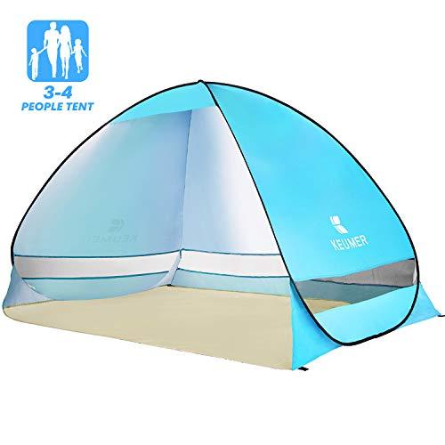 Elover Tente de Plage Pop Up Abri de Plage Automatique Instantané Tente Portatif Extérieur pour 3-4 Personnes Tente Familiale Anti UV pour Plage Camping Jardin Pêche Pique-Nique (Bleu Clair)