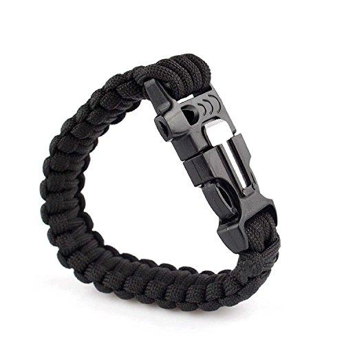 Juego de dos pulseras de supervivencia con silbato  cuerda  mechero  rasqueta para aire libre (negro y verde)