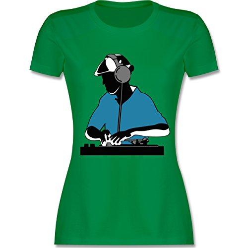 DJ - Discjockey - Discjockey - tailliertes Premium T-Shirt mit Rundhalsausschnitt für Damen Grün