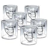 zanasta (6 Stück) Totenkopf Glas (25ml) Schädel Shotglas für Whisky Vodka oder Schnaps klein