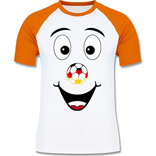 EM 2016 - Frankreich - Deutschland lustiges Gesicht - zweifarbiges Baseballshirt für Männer Weiß/Orange