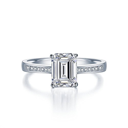 Sreema London Elegant 925 Sterling Silber Promi-Stil Micro-Pave Ring Paar. Vintage-Look Smaragd Geschnitten Wedding Verlobungsring mit AAAAA Zirkonia + Geschenkbox enthalten