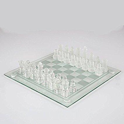 Juego de ajedrez de cristal, 32 piezas de ajedrez de vidrio, mayores de 8 años, piezas de cristal esmerilado y transparente y tablero de vidrio.