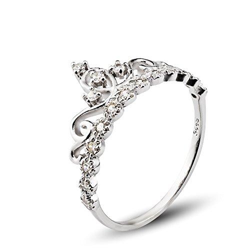 925 Sterling Silber Zirkonia krone Damen-Ring Verlobungsring schmuck größe 48(15.3)