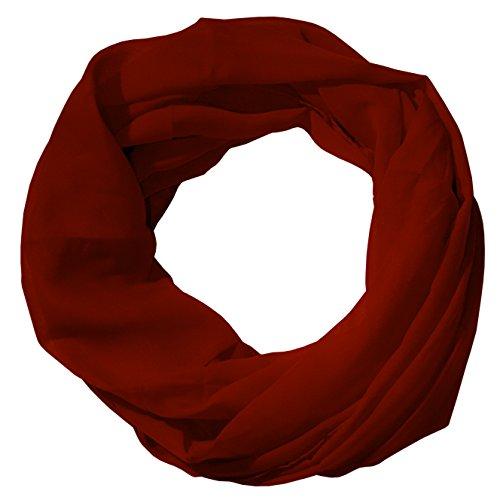 MANUMAR Loop-Schal für Damen einfarbig | feines Hals-Tuch in Rot als perfektes Herbst Winter Accessoire | Schlauch-Schal | Damen-Schal | Rund-Schal | Geschenkidee für Frauen und Mädchen