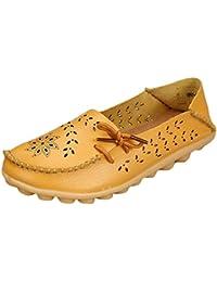 Heheja Mujer Hueco Ocio Piso Zapatos Mocasines de Cuero Loafers con Bowknot