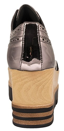 Elara Damen Plateau Schuhe   Metallic High Halbschuhe   Schnürer Profilsohle Grau
