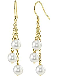 14K Gold White Akoya Cultured Pearl Cluster Earrings